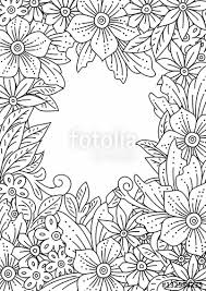 floral frame hand drawn flowers and leaves doodle art outline