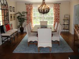 Curtain Ideas For Dining Room Swanky Design With Pretty Hanging Lamp Above Big Wood Table On