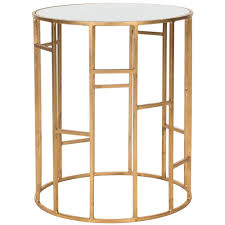 safavieh doreen gold and white glass top end table fox2533b the