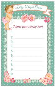 baby shower dirty diaper game name that candy bar answer sheet