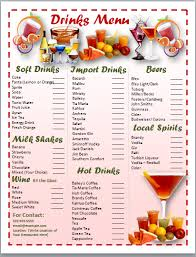 snack bar menu template cocktail menu template card templates