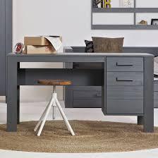 bureau tiroirs bureau en pin massif brossé gris foncé 2 tiroirs dennis fabrication