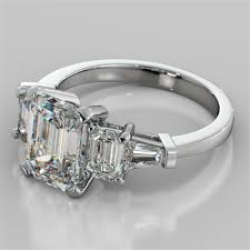 emerald cut engagement rings 2 31ct emerald cut 5 engagement ring with baguette accents
