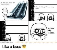 Meme Blender - stepping onto an escalator memeblender com me looking down at my