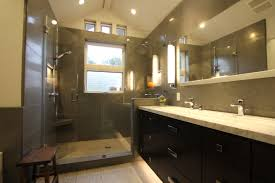 Bathroom Shower Mirror Grey Wall Themes Shower Room With Shower Area And Black Wooden