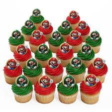 mario cake toppers mario 24 cupcake rings kitchen dining