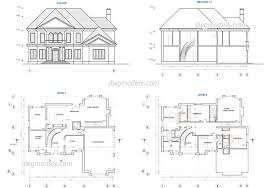 two story house plans with basement house plan two story plans dwg free cad blocks single with