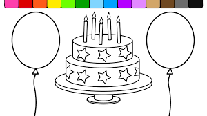learn colors for kids and color this star birthday cake balloon