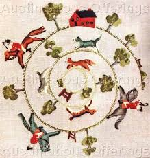 to hounds crewel embroidery kit elsa williams fox hunt