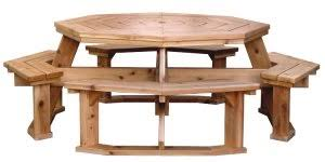 Red Cedar Octagon Walk In Picnic Table by Octagon Picnic Table Plans Hexagon Picnic Table Pinterest