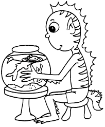goldfish coloring page an alien with a goldfish bowl