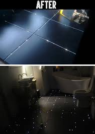 Bathroom Floor Lighting by This Guy Transformed His Bathroom Floor Into A Starry Night Sky