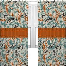 Orange And Blue Curtains Orange Blue Leafy Swirls Curtains 2 Panels Per Set