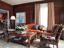 Reddish Brown Leather Sofa Living Room Interior Design Wood Walls Blue Contemporary Chair