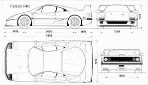 car ferrari drawing ferrari f40 blueprint download free blueprint for 3d modeling