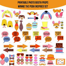 photo booth prop winnie the pooh inspired printable photo booth prop set by