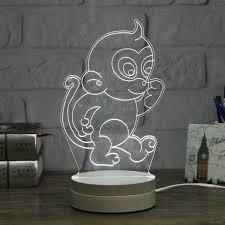3d monkey shape led night light table desk acrylic lamp kid gift