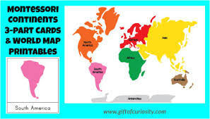 continents on map montessori continents 3 part cards and map printables gift