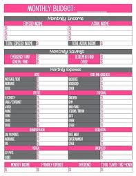 2 free household monthly budget printables organization