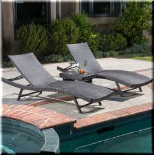Ebay Wicker Patio Furniture Outdoor Chaise Lounge Set 3 Piece Side Table Brown Resin Wicker