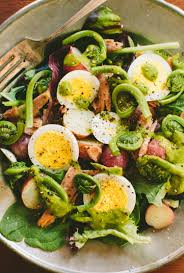 tuna and fiddlehead salad with ramp dressing u2014 a thought for food