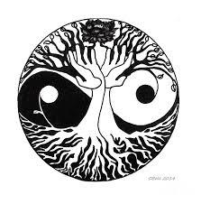 yin yang tree drawing clipartxtras