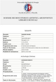 unipg lettere e filosofia scienze dei beni storico artistici archivistico librari e