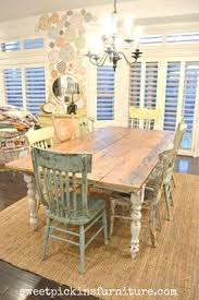 Reclaimed Wood Dining Table And Chairs Coastal Farmhouse Dining Room Love The Plush Chairs With The