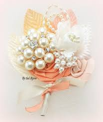 Coral Boutonniere Brooch Boutonniere Peach Boutonniere Coral Ivory Bout Blush