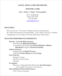 Ballet Resume Sample by Musical Theatre Resume Examples Sample Musical Theatre Resume