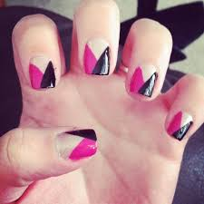 incredible black and pink nails with v shape and nail design