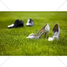 wedding shoes for grass wedding shoes in the grass field gl stock images