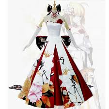 fate stay night saber cosplay costume saber wedding dress