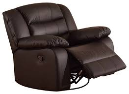 aniyah faux leather swivel rocking recliner chair transitional