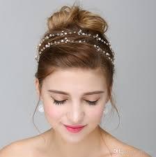 bridal hair accesories gold silver pearl bridal hair vine wedding headband