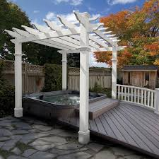 10 X 10 Pergola by Dura Trel Kingston 7 X 7 Ft Vinyl Pergola Hayneedle