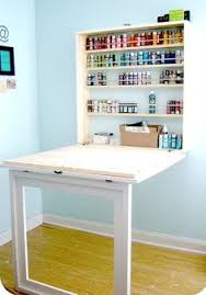 diy folding sewing table fold down table with wall mounted storage diy decoración