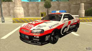 car nissan skyline nissan skyline bnr34 gt4 pace car for gta san andreas