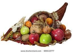 thanksgiving cornucopia horn plenty vegetable fruits stock photo