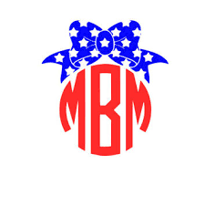bow monogram bow monogram fourth of july monogram from maesgirlythings on