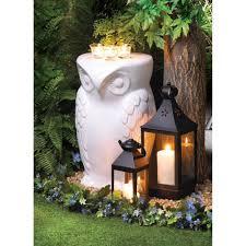 Owl Table L White Owl Bird Statue Ceramic Outdoor Furniture Garden Stool End