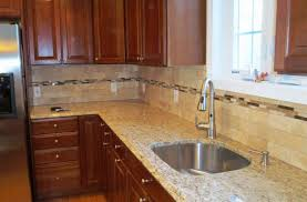 Kitchens With Subway Tile Backsplash Travertine Subway Tile Kitchen Backsplash With A Mosaic Glass Tile