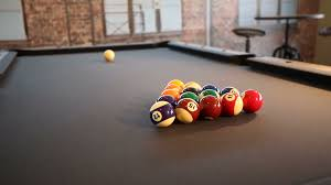 Pool Table Break to Start Game Two shots Camera rises up on