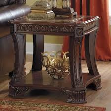 signature design by ashley ledelle dark cherry square end table