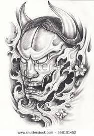 samurai warrior tattoo designhand pencil drawing stock