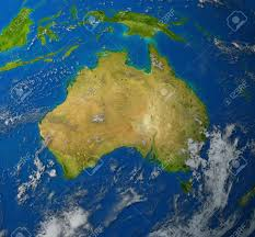Pacific Region Map Australia Realistic Map Of The Continent Of Oceana In The Pacific