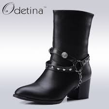 cheap leather motorcycle boots online get cheap leather chunky high heel mid calf boot