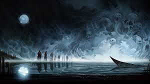 spooky wallpapers dark spooky wallpaper background 1920 x 1080 artwork fantasy art skull moon reflection water boat