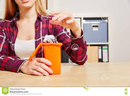 Bedroom Trash Cans For Girls Woman Throws Paper Into A Small Trash Can Stock Photo Image
