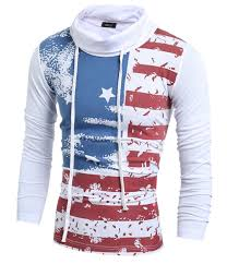 Buy American Flag Online Free Shipping High Quality Slim Fit Streetwear Hoodie Men Stripe